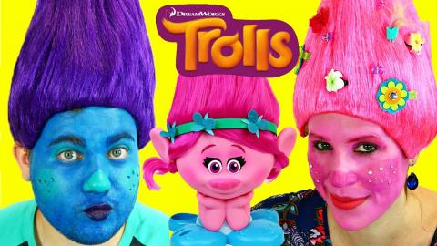 TROLLS MOVIE Makeup Makeover & Costume Dress Up Poppy & Boy Troll Tutorial by DisneyCarToys