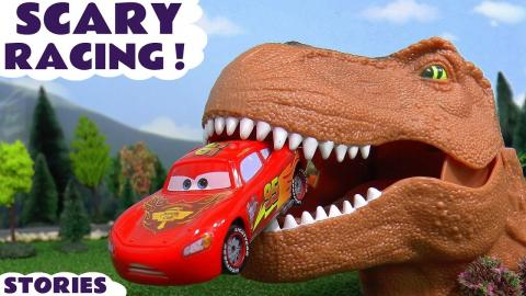 scary disney cars toys racing toy car kids stories with dinosaur and thomas and friends trains