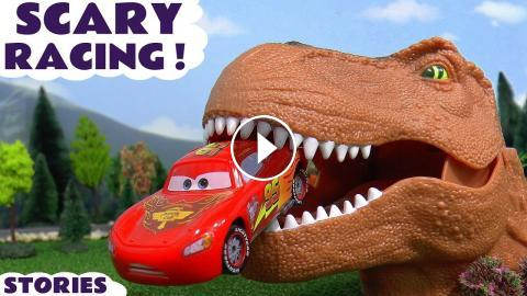 Scary Disney Cars Toys Racing Toy Car Kids Stories With Dinosaur