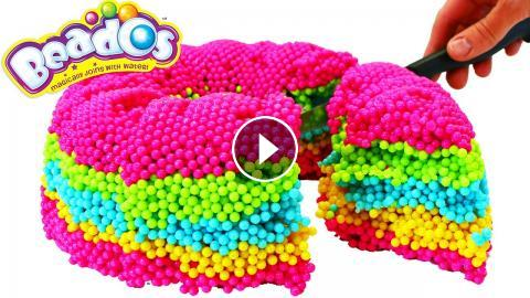 Beados DIY Rainbow Cake Tutorial Where DisneyCarToys Makes A Giant Surprise Toys Out Of Real Kids Can Learn Colors As We Pour On T