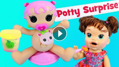 New Lalaloopsy Potty Surprise With Baby Alive Doll Eating