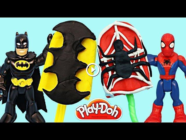 Kids Toys Action Figure: Batman Play Doh Popsicle And A Spiderman Play Doh Popsicle