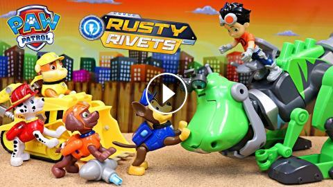 Paw Patrol Meet Rusty Rivets And Build The Botasaur To Rescue A Kitty
