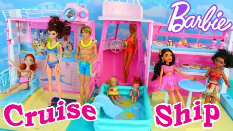 Barbie Cruise Ship Vintage House Boat Toy Review With Swimming Pool, Chelsea Dolls & Disney Princess
