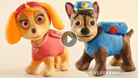 paw patrol pup chase plays with skye play doh cartoon stop motion